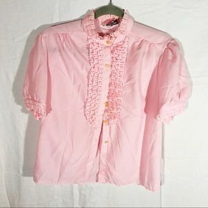 80s Pastel Pink Ruffle Lace Short Sleeve Button Up